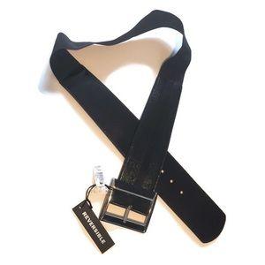 NWT WHBM Reversible Patent Snake Croc Belt Blk XL